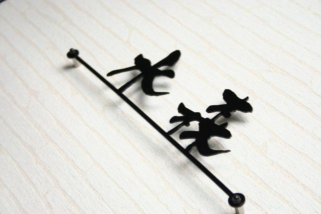 ステンレスレーザーカット(切り文字)表札「漢字」ライン付きのサンプル画像。水森で制作。