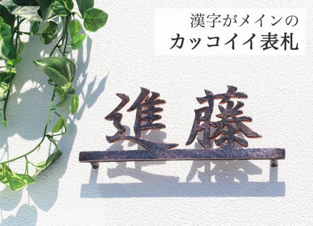 表札マイスターの銅表札 漢字タイプ・ライン付き サンプルは進藤のお名前で作りました