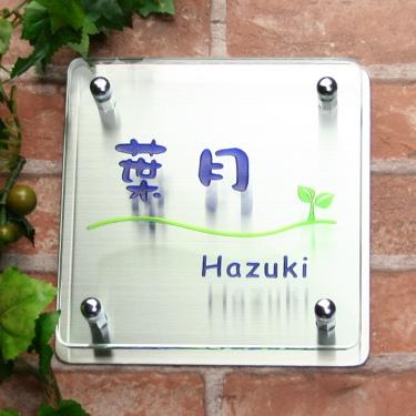 フラットガラス表札Gシリーズ「正方形170クリア」ステンレス板付・2色