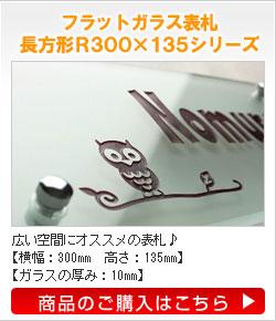フラットガラス表札長方形R300135シリーズ