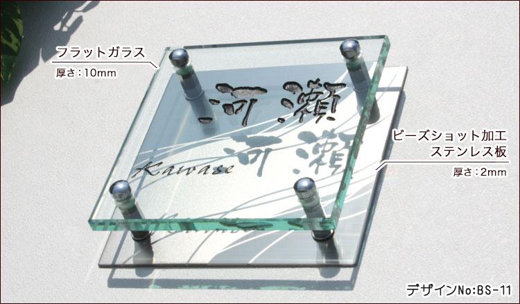 フラットガラス表札BSシリーズ詳細