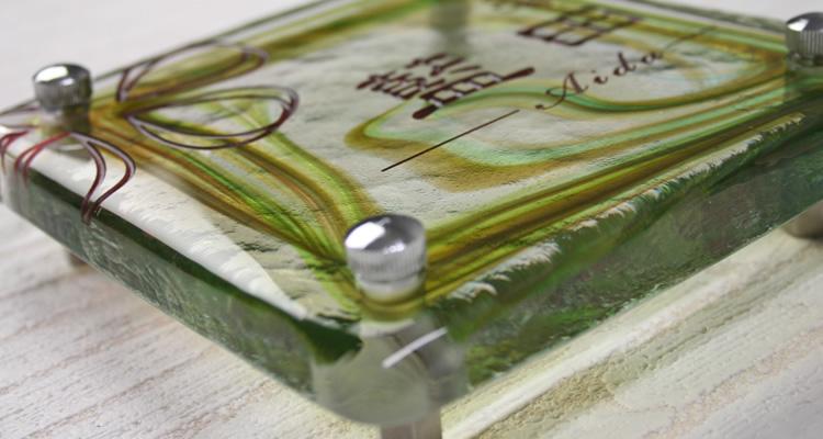 表札、手作りガラス表札正方形150マーブルグリーン
