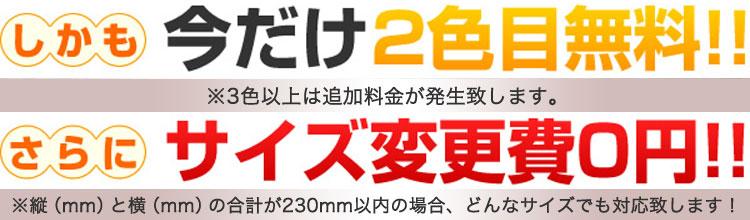 2色目無料・サイズ変更費0円