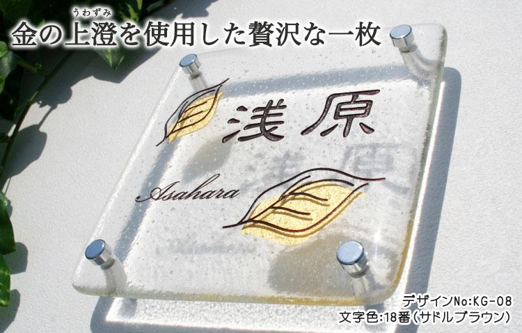 手作りガラス表札IIKG-08