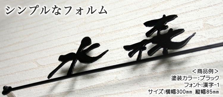 ステンレスレーザーカット表札「漢字」ライン付き・商品例