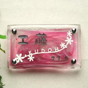 LS表札 「花の小径」(手作りガラス長方形200)