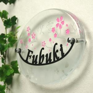 LS表札「きのこの家」(手作りガラス長方形245)