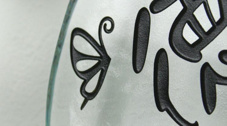 LS表札「カメリア」(手作りガラスオーヴァル280クリア)