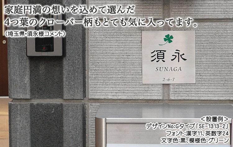 ステンレスエッチング表札・Gタイプ(施工例)